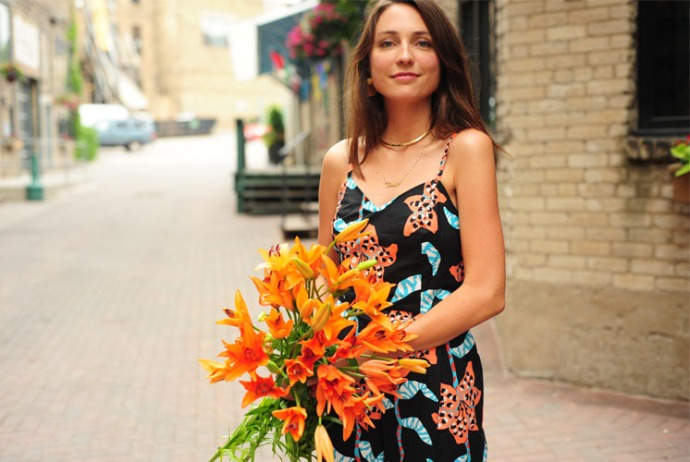 Erin Furey wearing a floral pattern jumpsuit