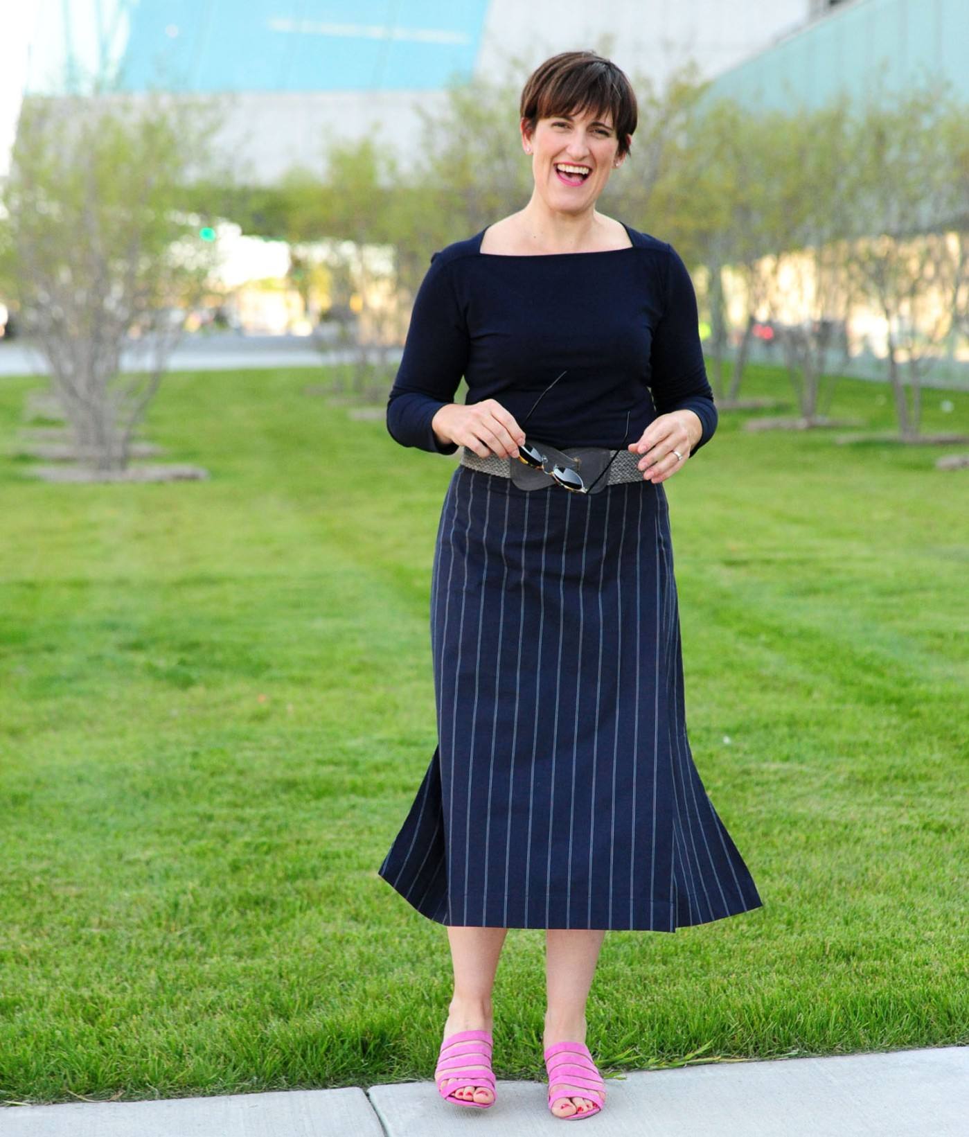 women-i-work-with-mary-deelsnyder-mmlafleur-pinstripe-skirt-loefflerrandall-pink-sandals