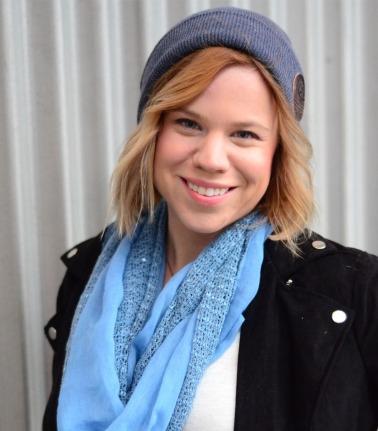 women-i-work-with-target-amanda-brown-gray-beanie-periwinkle-scarf-black-biker-jacket
