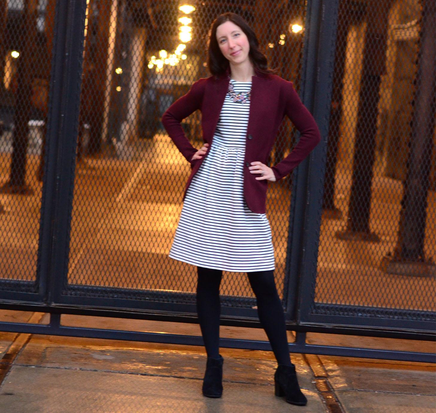 women-i-work-with-target-jen-scully-stripe-dress-maroon-jacket