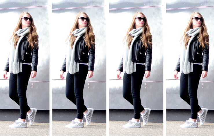 women-i-work-with-target-laura-anderson-biker-jacket-sunglasses-gray-scarf-repetition