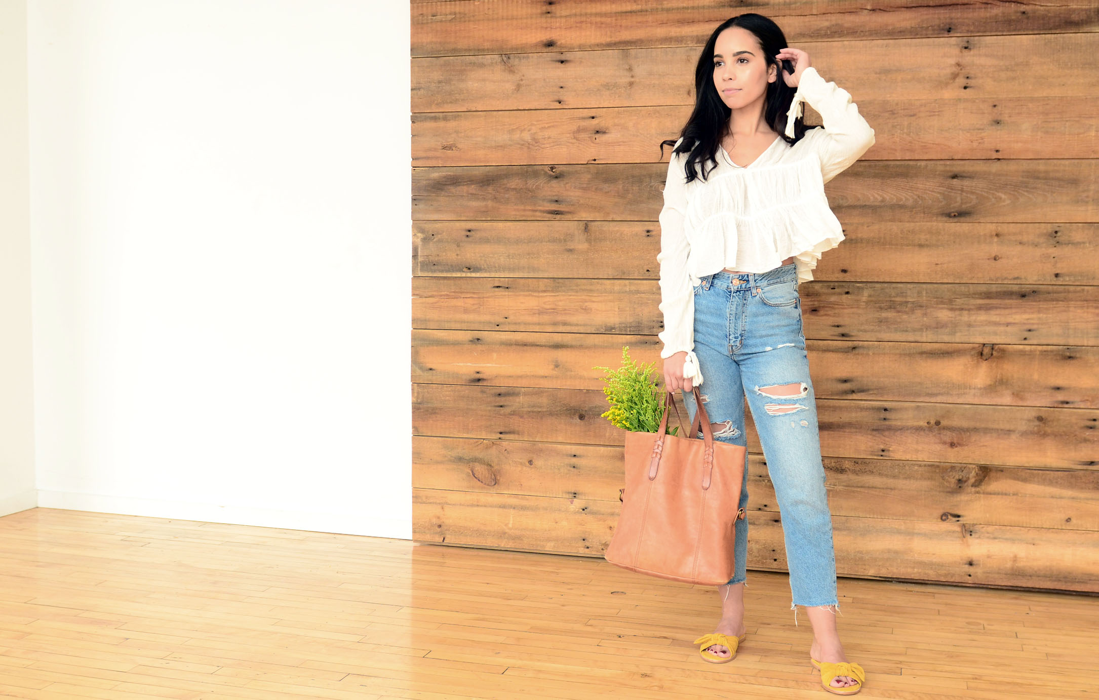 women-i-work-with-danielle-torres-white-ruffle-top-ripped-denim-yellow-sandals