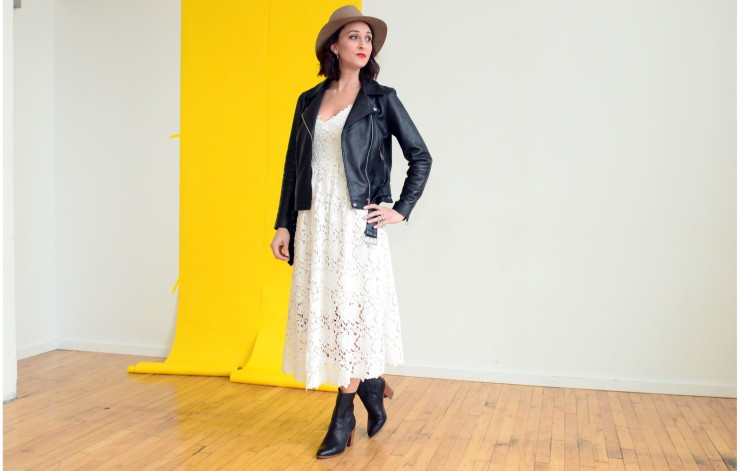 women-i-work-with-kristin-schroeder-black-leather-jacket-white-lace-dress