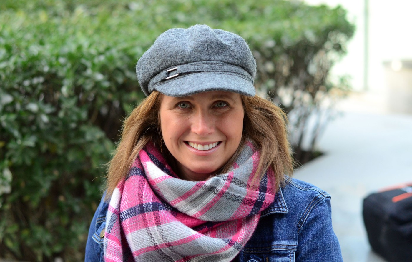 women-i-work-with-michelle-trombetta-china-jean-jacket-plaid-scarf-hat