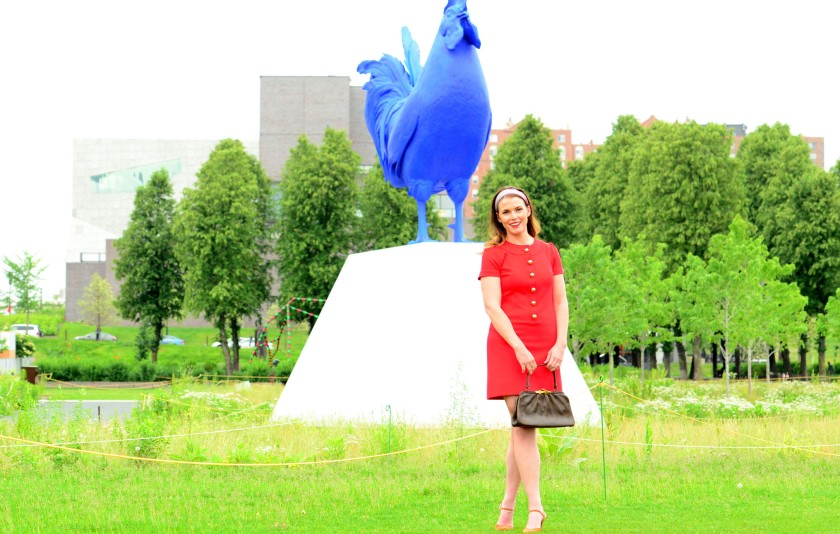 women-i-work-with-anne-mezzenga-red-vintage-dress-walker-sculpture-garden-blue-rooster