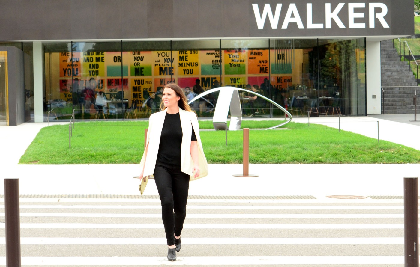 women-i-work-with-anne-mezzenga-white-cape-black-pants-walker-art-museum